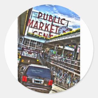 Mercado de lugar de Pike Pegatina Redonda