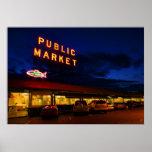 Mercado de lugar de Pike, Seattle Poster