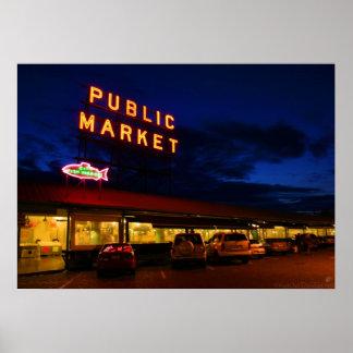 Mercado de lugar de Pike, Seattle Póster