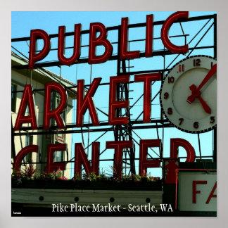 Mercado de lugar de Pike - Seattle, WA Póster