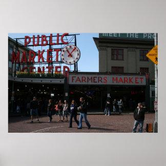 Mercado de lugar de Pike, Seattle Washington Póster