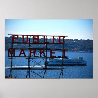 Mercado de lugar de Pike y costa de Seattle Póster