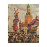 Mercado de Pascua en la Moscú el Kremlin, 1917 Cuadro De Madera