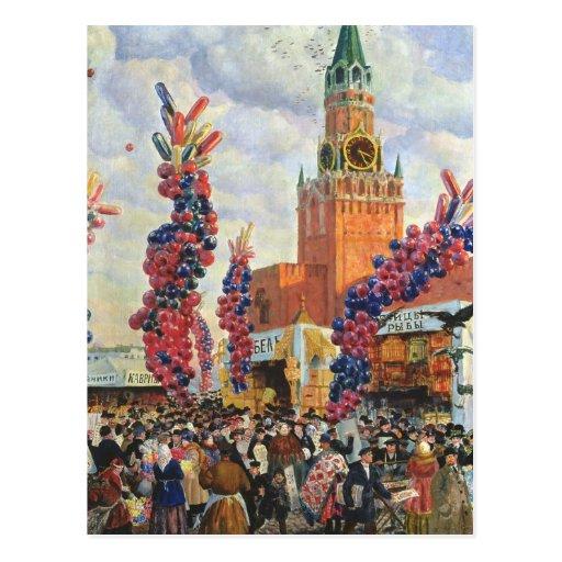 Mercado de Pascua en la Moscú el Kremlin, 1917 Postal