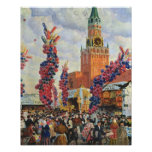 Mercado de Pascua en la Moscú el Kremlin, 1917 Póster