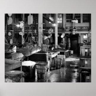 Mercado de pescados de Fulton: 1954 Póster