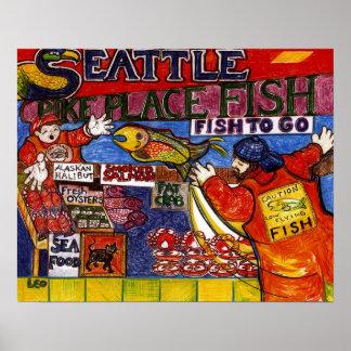 Mercado de pescados de Seattle Poster