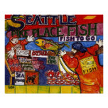 Mercado de pescados de Seattle Póster