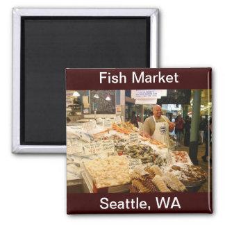 Mercado de pescados Seattle WA Imán Cuadrado