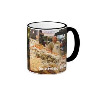Mercado de pescados Seattle WA Taza A Dos Colores