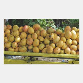 mercado del mango rectangular pegatina