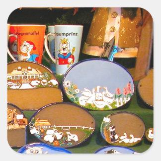 Mercado del navidad de Heidlelberg Pegatina Cuadrada