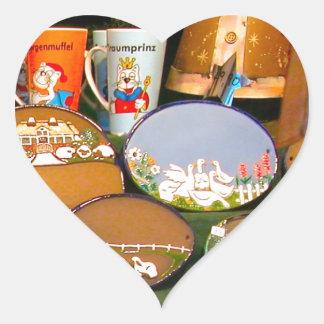 Mercado del navidad de Heidlelberg Pegatina En Forma De Corazón