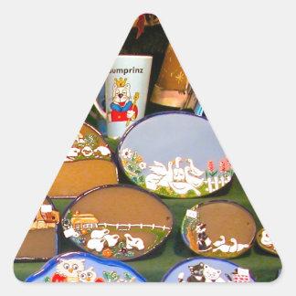 Mercado del navidad de Heidlelberg Pegatina Triangular