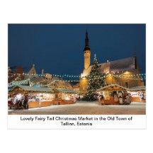 Mercado del navidad del cuento de hadas en Tallinn Tarjeta Postal
