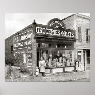 Mercado del ultramarinos y de carne, 1916. Foto Póster