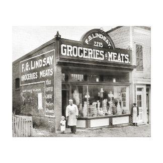 Mercado del ultramarinos y de carne, 1916 lona envuelta para galerías