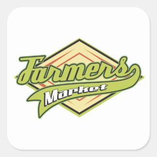 Mercado deportivo de los granjeros calcomanía cuadradas
