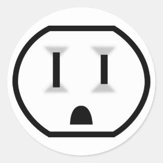 Mercado eléctrico divertido pegatina redonda