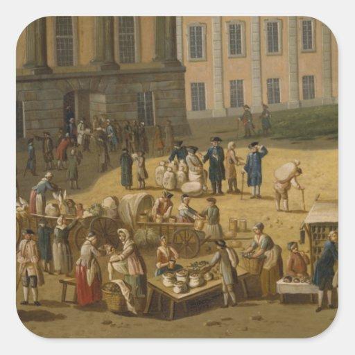 Mercado en la alteración Markt, Potsdam, 1772 Calcomanía Cuadradas Personalizada