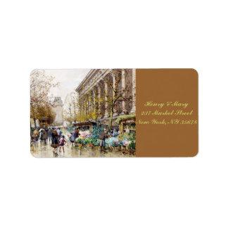 Mercado en la Madeleine, París de la flor Etiquetas De Dirección