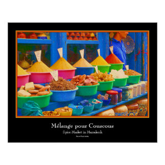 Mercado en Marruecos - Mélange vierte cuscús Posters