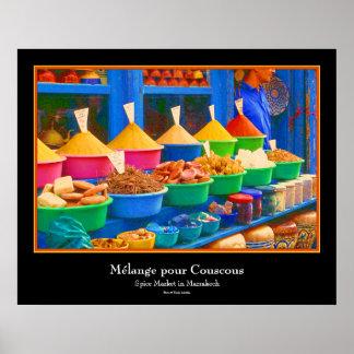 Mercado en Marruecos - Mélange vierte cuscús Póster