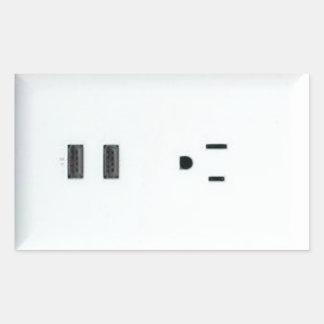 Mercado falso de USB Pegatina Rectangular