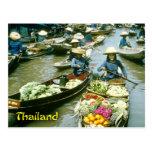 Mercado flotante de Tailandia Tarjetas Postales