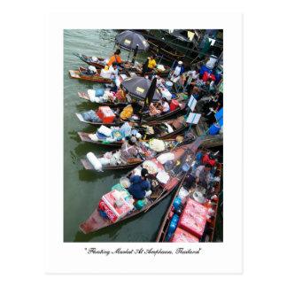 Mercado flotante en Amphawa, Tailandia Postal