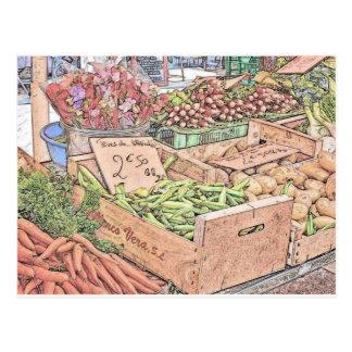 Mercado francés de los granjeros tarjeta postal