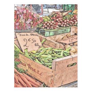 Mercado francés de los granjeros tarjetas postales