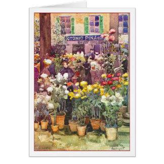Mercado italiano de la flor de Maurice Prendergast Tarjeta Pequeña