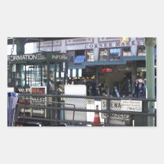 Mercado Pegatina Rectangular