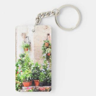 Mercado pintado acuarela italiana de la flor llavero rectangular acrílico a doble cara