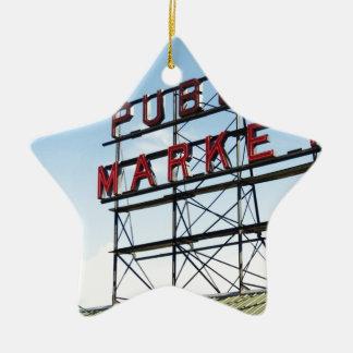 Mercado público adorno navideño de cerámica en forma de estrella