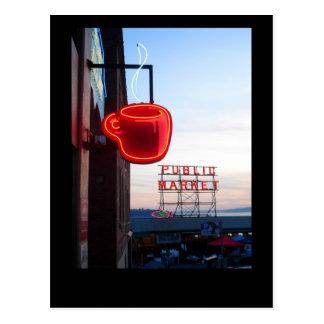 Mercado público de Seattle Tarjeta Postal