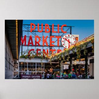 Mercado público del lugar de Pike Póster