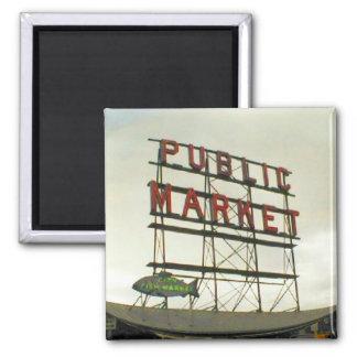 Mercado público en Seattle, WA Imán Cuadrado