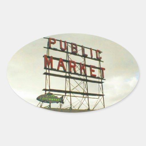 Mercado público en Seattle, WA Pegatina Ovalada