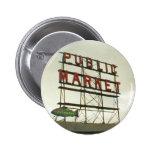 Mercado público en Seattle, WA Pin Redondo 5 Cm