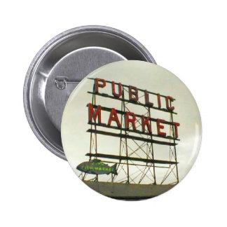 Mercado público en Seattle, WA Pin Redondo De 2 Pulgadas