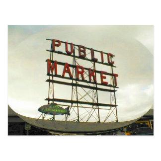Mercado público en Seattle, WA Tarjetas Postales