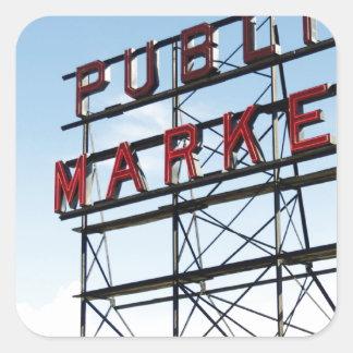 Mercado público pegatina cuadrada