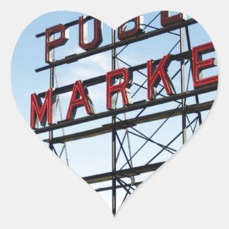 Mercado público pegatina en forma de corazón