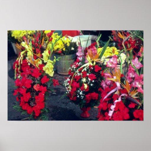 Mercado rojo de la flor, flores de Lima Póster