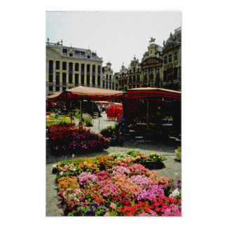 Mercado rosado de la flor en la plaza principal, B Póster