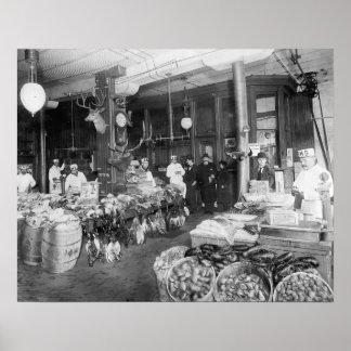 Mercado salvaje del juego y de los mariscos, 1895 póster