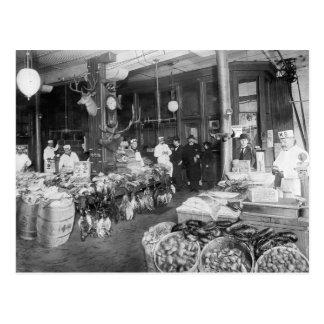 Mercado salvaje del juego y de los mariscos, 1895 postales