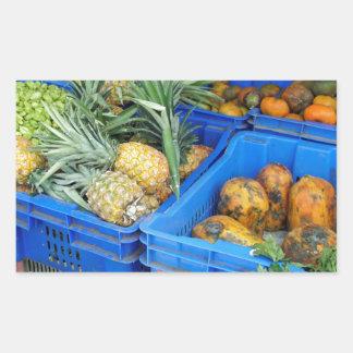 mercado tropical rectangular pegatinas